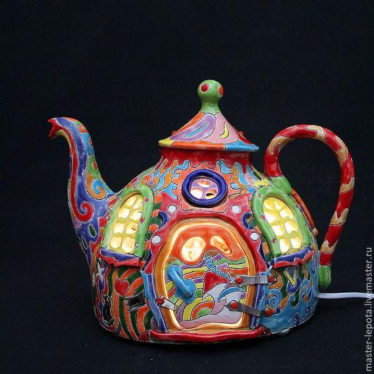 """Освещение ручной работы. Ярмарка Мастеров - ручная работа. Купить Светильник """"Безумное чаепитие"""". Handmade. Алиса в стране чудес, керамика"""