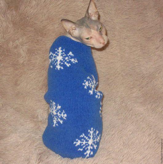Одежда для кошек, ручной работы. Ярмарка Мастеров - ручная работа. Купить Плюшевый свитер для кошки(кота). Handmade. Синий, Сфинкс, softi