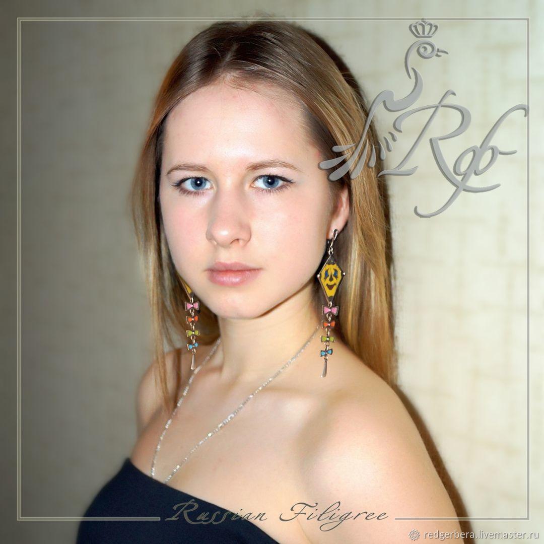 Earrings 'Kite' enamel, silvering 12 microns, Earrings, Kostroma,  Фото №1