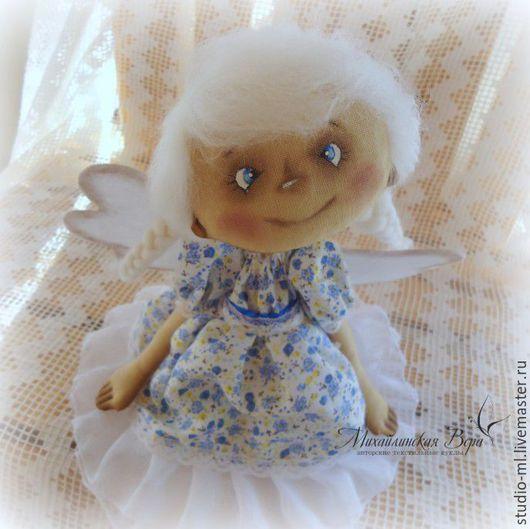 Человечки ручной работы. Ярмарка Мастеров - ручная работа. Купить Ангел в голубом. Handmade. Голубой, ангел в подарок, бязь тонированная