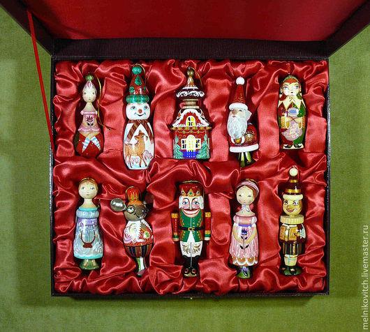 Подарочные наборы ручной работы. Ярмарка Мастеров - ручная работа. Купить деревянные ёлочные игруши набор. Handmade. Бордовый