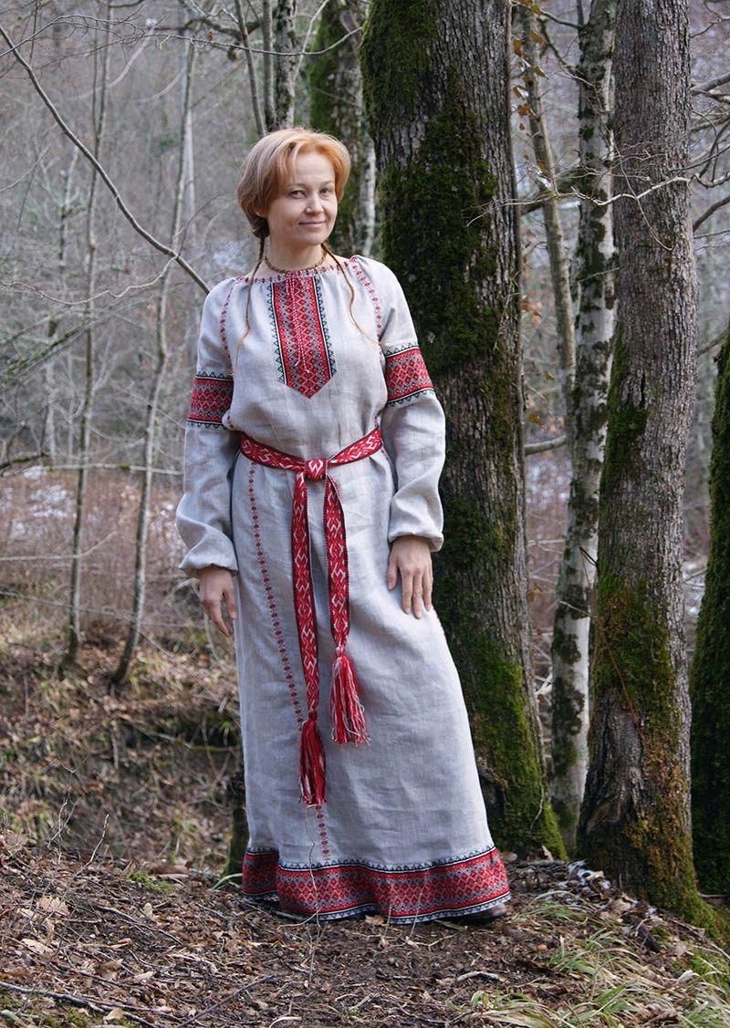 Платье обережное из небеленого льна, Народные платья, Геленджик,  Фото №1