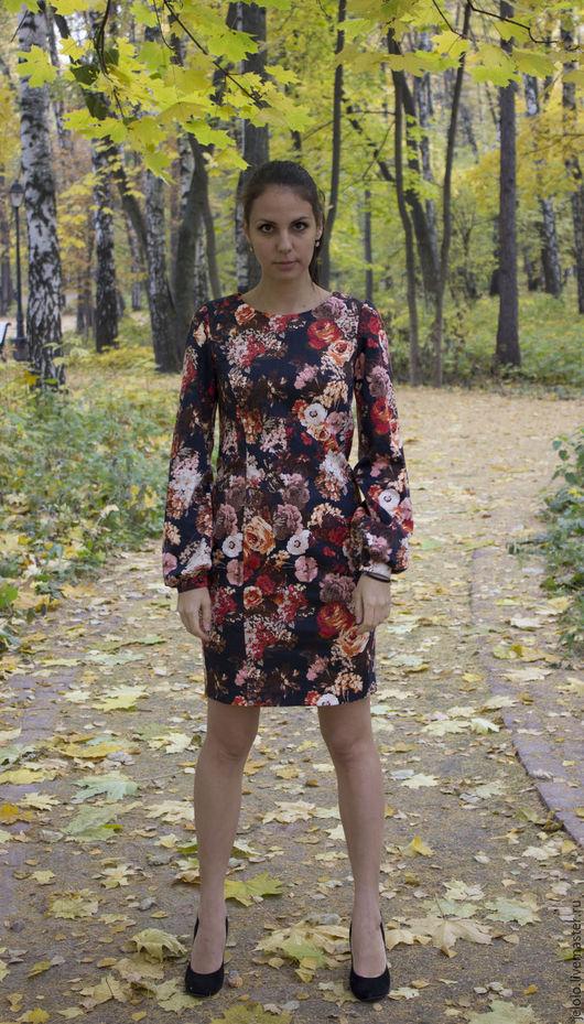 Платья ручной работы. Ярмарка Мастеров - ручная работа. Купить Платье карандаш Цветы. Handmade. Комбинированный, платье карандаш, орнамент