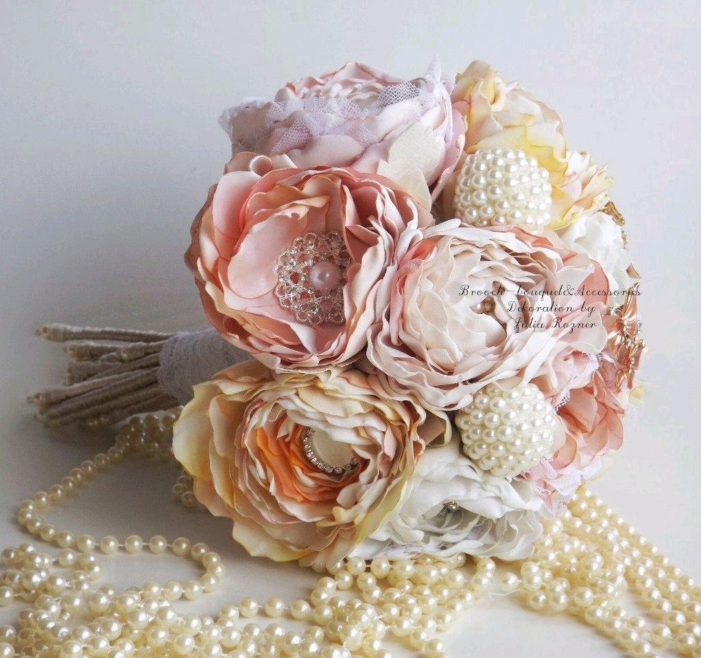 Персиковый Свадебный Брошь букет невесты из пионов цветы из ткани, Свадебные букеты, Москва,  Фото №1