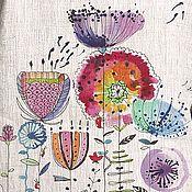 Блузки ручной работы. Ярмарка Мастеров - ручная работа Блузка льняная с акварельные рисунком. Handmade.