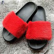 Обувь ручной работы handmade. Livemaster - original item Flip flops with natural mink fur. Handmade.