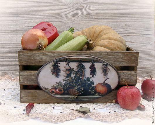 Корзины, коробы ручной работы. Ярмарка Мастеров - ручная работа. Купить Ящик большой для хранения овощей Уют. Handmade. Коричневый