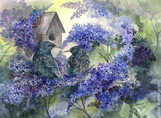 Картины цветов ручной работы. Ярмарка Мастеров - ручная работа. Купить Картина акварелью с сиренью и птицами - Расцветала весна, живопись. Handmade.