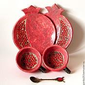 """Посуда ручной работы. Ярмарка Мастеров - ручная работа Кофейная пара""""Гранаты"""". Handmade."""