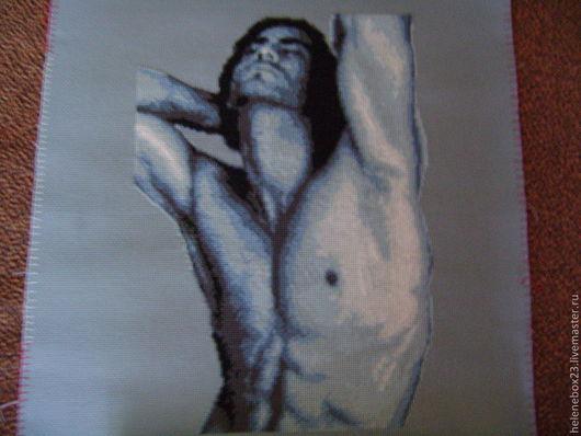 """Люди, ручной работы. Ярмарка Мастеров - ручная работа. Купить Вышитая картина """"Графика в синих тонах ОН"""".. Handmade. Серый"""