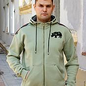 Одежда handmade. Livemaster - original item Camouflage sweatshirt ARMA, men`s hoodie with zipper and hood. Handmade.