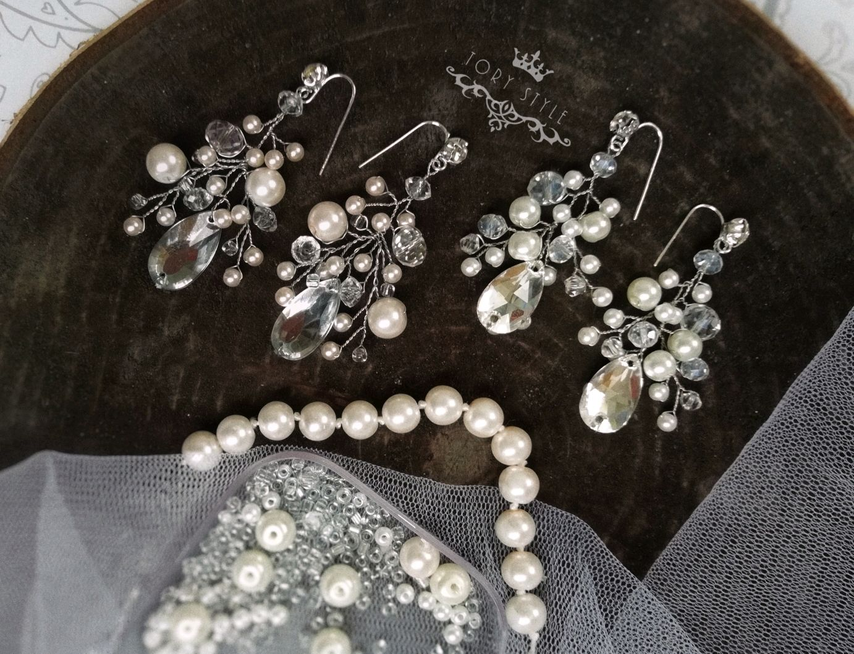 Earrings with rhinestones pearl wedding light long small, Earrings, Nizhny Novgorod,  Фото №1