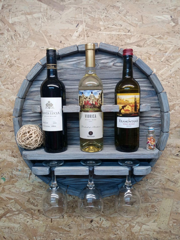 Винная полка деревянная круглая серая на 3 бутылки вина и 3 бокала, Полки, Ульяновск,  Фото №1