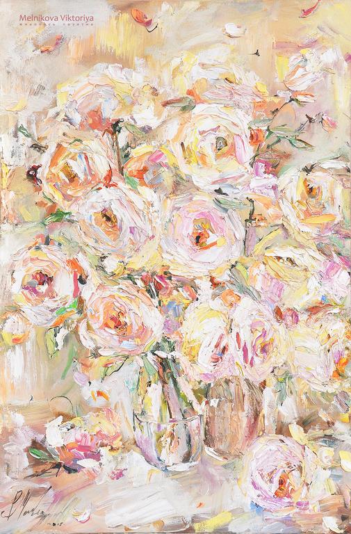 Картина маслом  `Розы в нежной гамме` 40/60 см