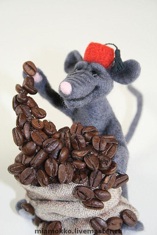 Игрушки животные, ручной работы. Ярмарка Мастеров - ручная работа. Купить кофеман. Handmade. Кофейная игрушка, мышка, стекло