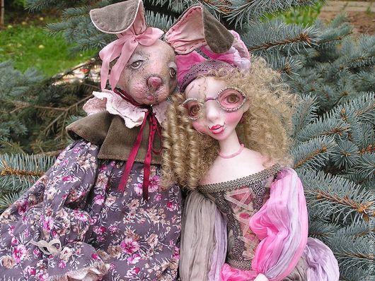 Коллекционные куклы ручной работы. Ярмарка Мастеров - ручная работа. Купить Будуарная Зая.... Handmade. Розовый, игровая кукла, бархат