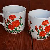 Посуда ручной работы. Ярмарка Мастеров - ручная работа Сервиз с розами, 2 кружки и чайник. Handmade.