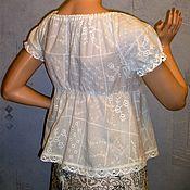 Одежда ручной работы. Ярмарка Мастеров - ручная работа Блуза (топ) из шитья ( белая). Handmade.