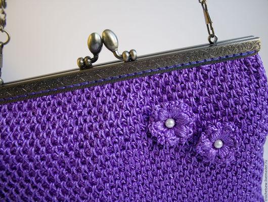 Вечерняя вязаная сумочка с фермуаром на цепочке «Болеро». Магазин `Вяжем. Шьём`.