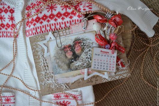 Календари ручной работы. Ярмарка Мастеров - ручная работа. Купить Календарь-магнит с обезьянками. Handmade. Ярко-красный, подарок на новый год