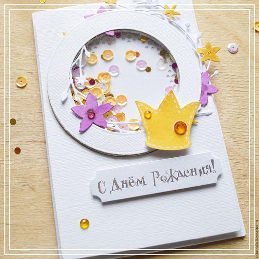 Детские открытки ручной работы. Ярмарка Мастеров - ручная работа. Купить Открытка для маленькой принцессы. Handmade. Белый, розовый