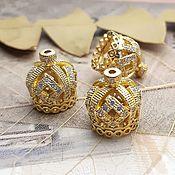 Материалы для творчества handmade. Livemaster - original item Crown cap 15h13 mm with cubic Zirconia gold (3442). Handmade.