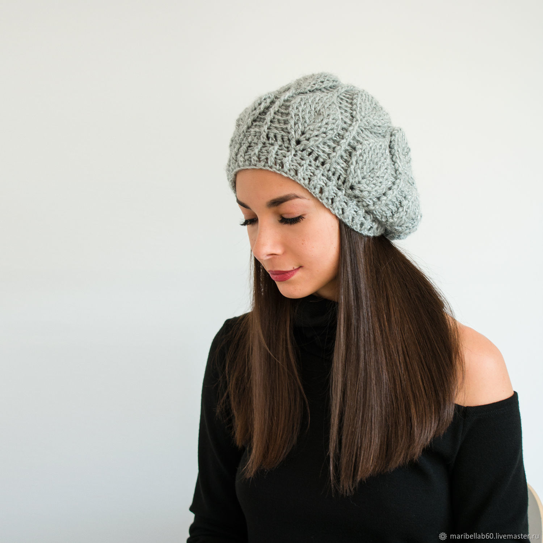 Gorro bini gancho Gris gorro para Mujer sombrero Sombrero de moda ...