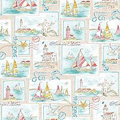 Материалы для творчества handmade. Livemaster - original item Fabric cotton percale Sea pictures vintage, W. .220 cm. Handmade.