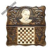 Подарки к праздникам handmade. Livemaster - original item Backgammon carved handmade V. V. Putin Art. .016. Handmade.