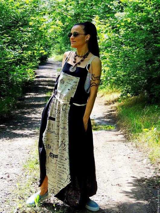 сарафан бохо, бохо платье, сарафан из льна, бохо, стиль бохо, бохо стиль, купить бохо сарафан, макси платье из льна, натуральный лен, черный, платье бохо, бохо стиль, летнее бохо