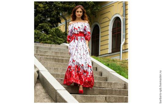 Платья ручной работы. Ярмарка Мастеров - ручная работа. Купить Длинное цветочное, красное нарядное платье в пол. Handmade.