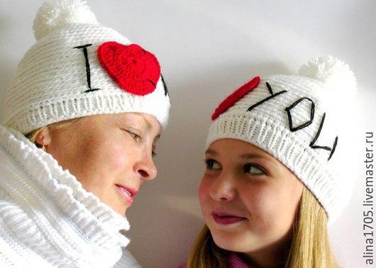 Шапки ручной работы. Ярмарка Мастеров - ручная работа. Купить Вязаные шапочки  I Love You. Handmade. Шапка