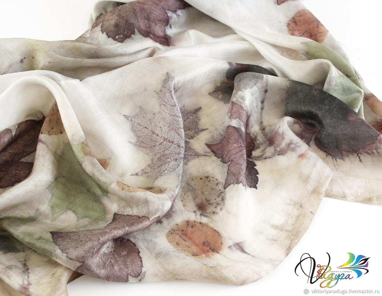 eco style, natural clothing, scarf silk, silk, silk stole, batik clothes, handmade accessories, painting on fabric, stole, handmade, Studio, rainbow, eco-print, stole boho