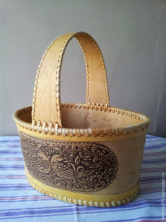 Basket from a bark big 'birds'. The product of birch bark, Basket, Tomsk,  Фото №1