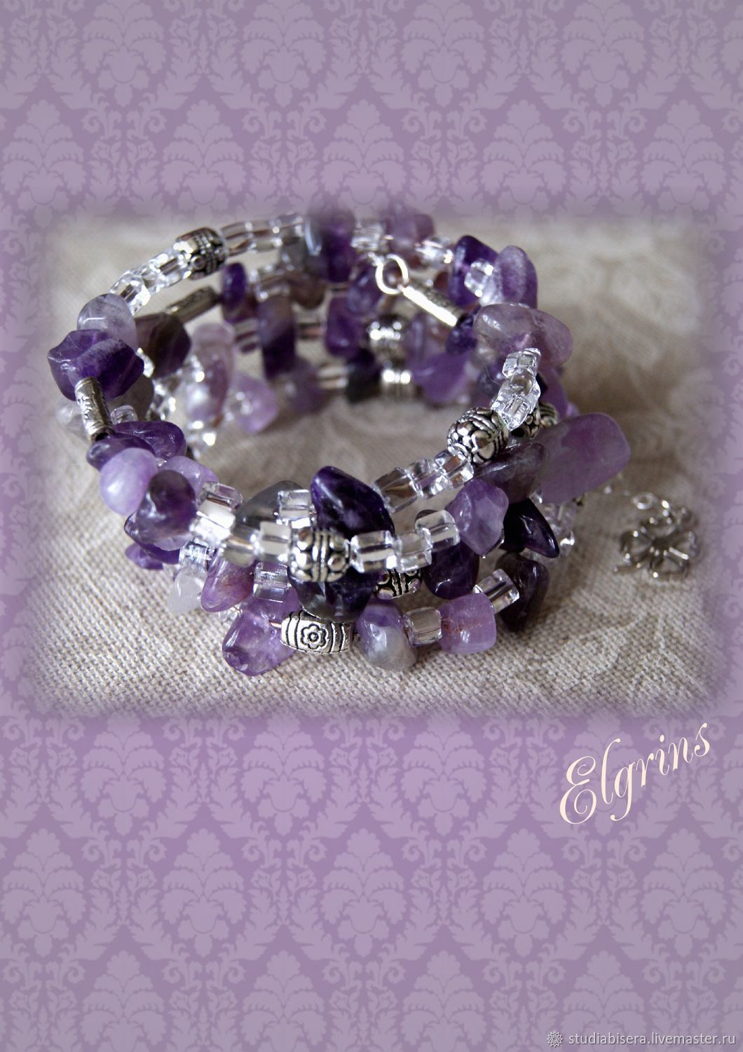 Bracelet Multi Row Amethyst Spring Color On The Wire With