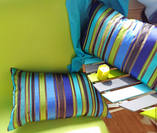 Текстиль, ковры ручной работы. Ярмарка Мастеров - ручная работа. Купить Полосатые подушки. Handmade. Комбинированный, подарок, молния