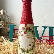 """Подарки к праздникам ручной работы. Ярмарка Мастеров - ручная работа Новогоднее шампанское """"Еловый венок"""" 0.375 л. Handmade."""