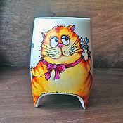 """Посуда ручной работы. Ярмарка Мастеров - ручная работа """"Гадание рыжей кошечки"""" -  чашка с ножками. Handmade."""