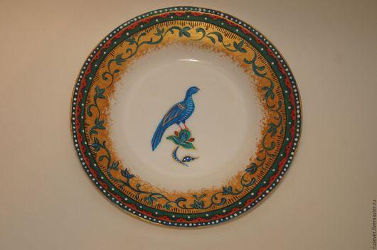 """Посуда ручной работы. Ярмарка Мастеров - ручная работа. Купить Тарелка """"Птица райская"""". Handmade. Разноцветный, расписная тарелка"""