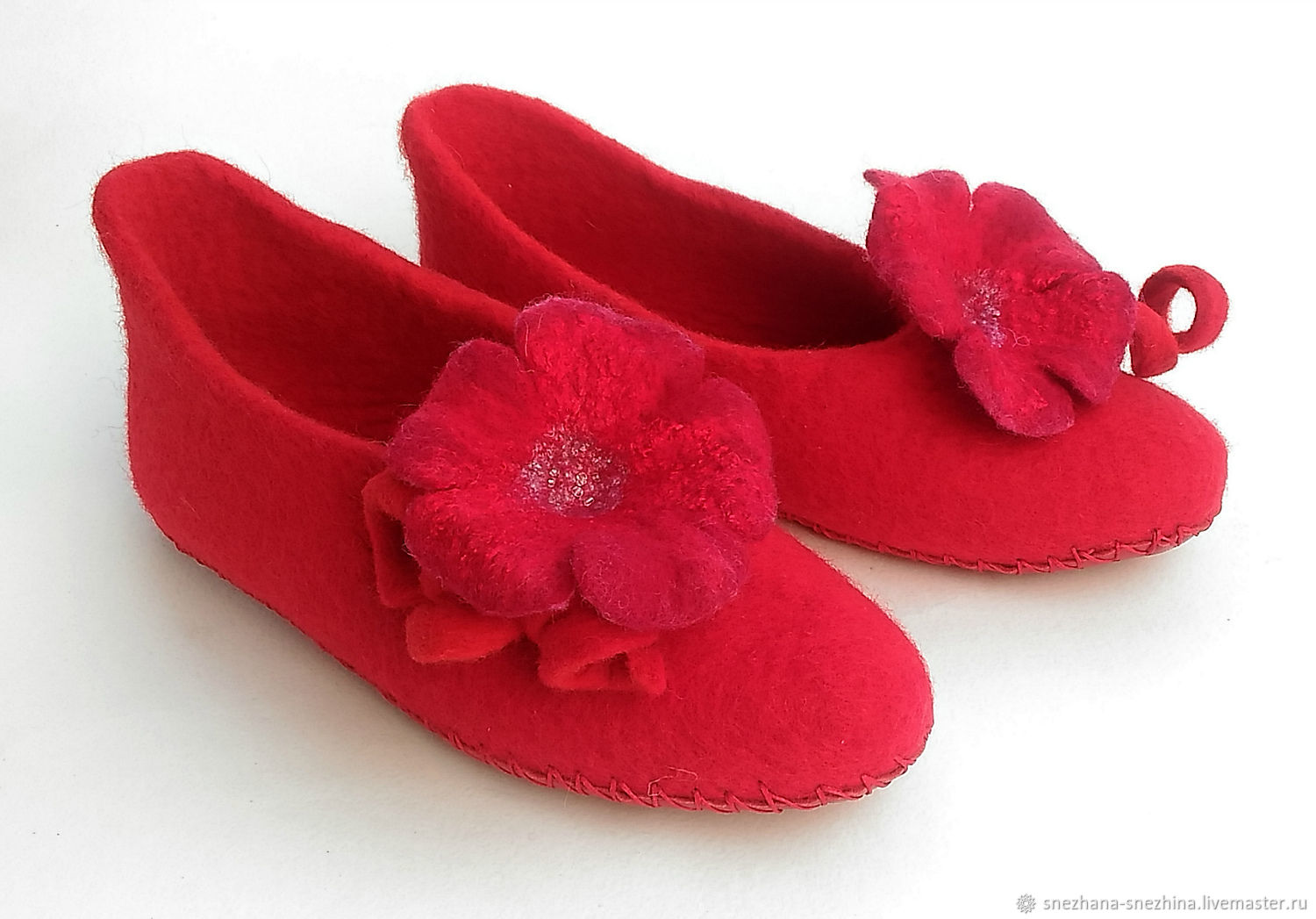 Red felted mallow Slippers, Slippers, Abakan,  Фото №1
