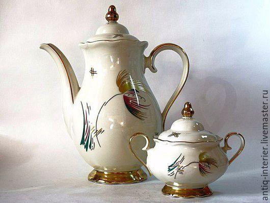 Винтажная посуда. Ярмарка Мастеров - ручная работа. Купить Фарфоровый набор чайник и сахарница. Handmade. Сервиз чайный, фарфоровая посуда