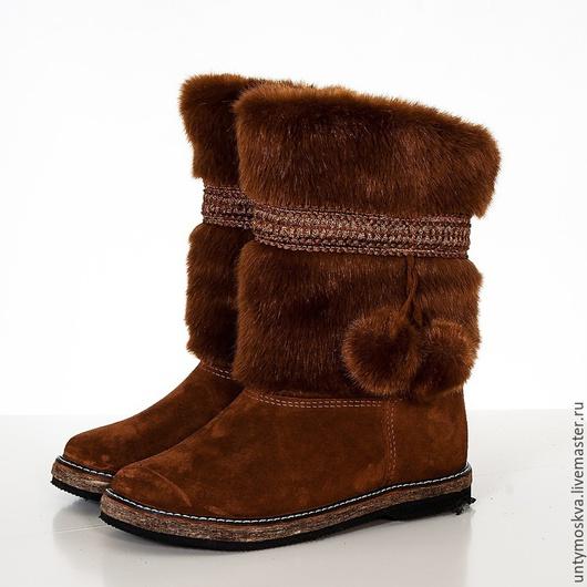 Обувь ручной работы. Ярмарка Мастеров - ручная работа. Купить Унты женские ( войлочная подошва ) уж17. Handmade.