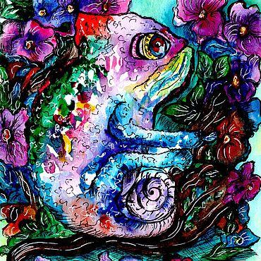 Дизайн и реклама ручной работы. Ярмарка Мастеров - ручная работа Акварельная иллюстрация Хамелеон. Handmade.