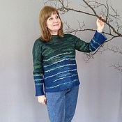 handmade. Livemaster - original item Jumpers: Women`s wool jumper Blue Sea. Handmade.
