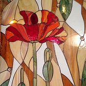 """Для дома и интерьера ручной работы. Ярмарка Мастеров - ручная работа Витраж тиффани """"Маки"""". Handmade."""