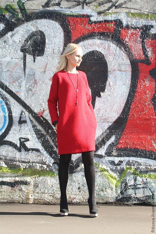 Платья ручной работы. Ярмарка Мастеров - ручная работа. Купить Платье-пальто.. Handmade. Ярко-красный, осеннее платье