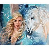 Картины и панно handmade. Livemaster - original item Painting girl and horse