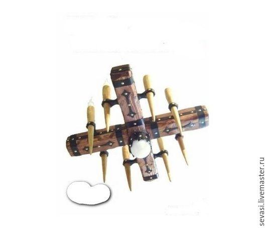 Освещение ручной работы. Ярмарка Мастеров - ручная работа. Купить люстра из состаренного дерева в виде креста. Handmade. Коричневый