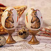 """Подарки к праздникам ручной работы. Ярмарка Мастеров - ручная работа Набор пасхальных яиц """"Зайчики"""" 2 шт. декупаж. Handmade."""