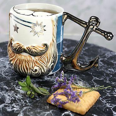 """Посуда ручной работы. Ярмарка Мастеров - ручная работа Чашка для усов """"Моряк. Ночь"""" фарфоровая. Handmade."""